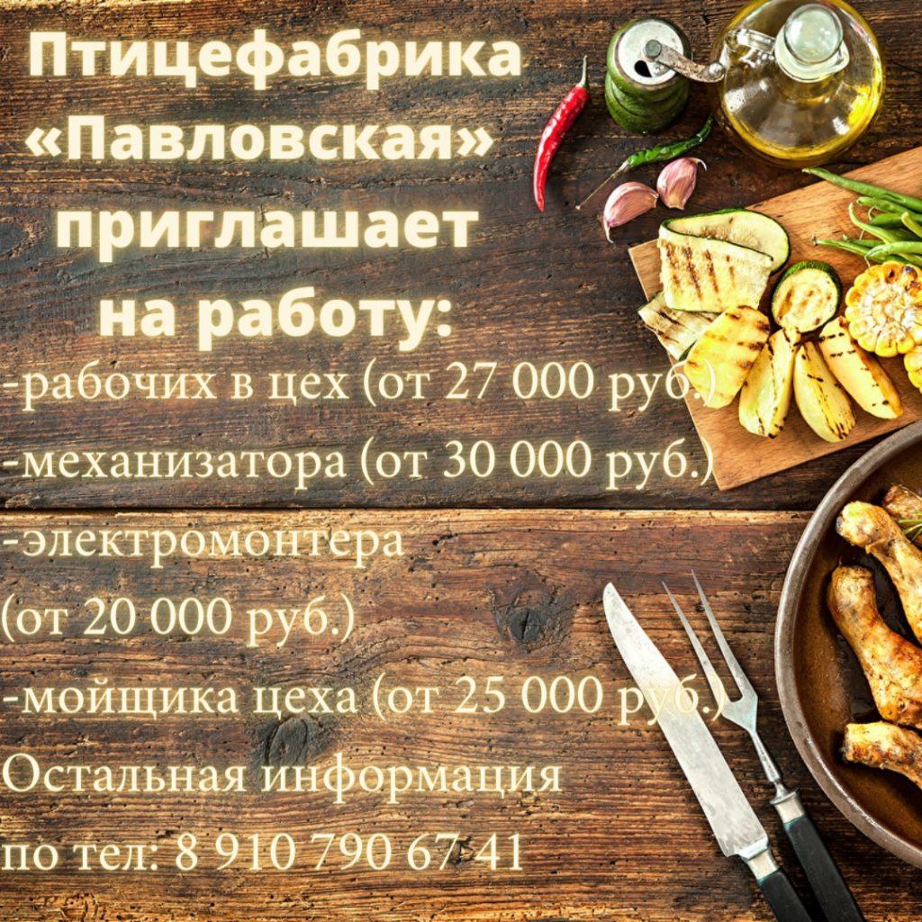 Работа на птицефабрике Павловская - Вакансии